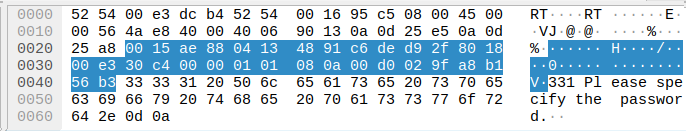 Wireshark TCP data